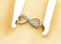 925 Sterling Silver - Petite Blue Topaz Infinity Symbol Band Ring Sz 10 - R11844