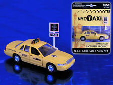 "New york City Yellow Taxi Cab""DieCast Metal With Sign"" 1/43"