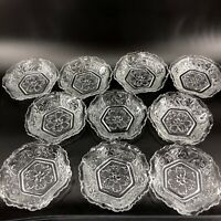 Vintage Lot of 10 Textured Snack Fruit Bowls Plates Flower Lace Swirl Pattern