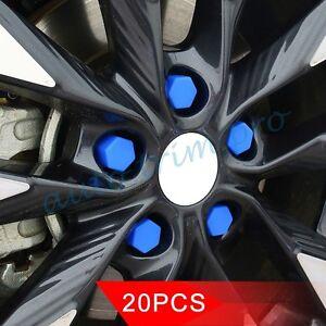 Blue 20pcs Wheel Lug Bolt Nut Cap Valve Stem Cover 19mm Hexagonal Protector Trim