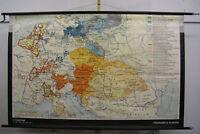 alte Schulwandkarte Österreich vs Preussen 1795 vintage wall map 194x123cm 1966