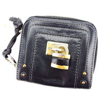 Chloe Wallet Purse Bifold Black Gold Woman Authentic Used P651