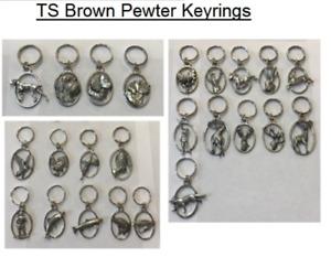 TS Brown Pewter Keyrings - Animals Birds Wildlife Pin Brooch Gift