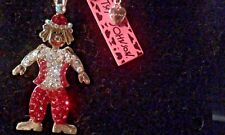 BETSEY JOHNSON CRYSTAL & ENAMEL CLOWN  PENDANT CHARM NECKLACE-NEW WITH TAGS