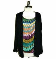 AUGUST SILK Size L Shirt Top Black Blue Purple Sequins Layer Look Long Sleeve