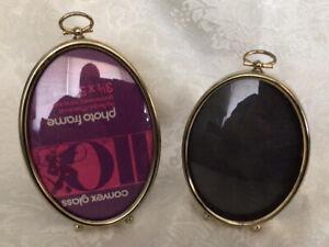 Set Of 2 Convex Glass Oval Photo Frames, Gold Tone W/Burgundy Felt Backs