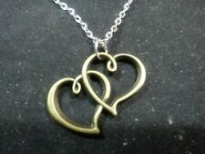 "double heart bronze tone with 20"" silver chain"