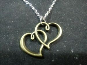 """double heart bronze tone with 20"""" silver chain"""