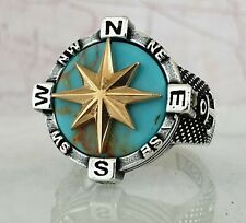 North Star Ottoman Turquoise 925 Sterling Silver Mens Ring Gemstone 10.40gr