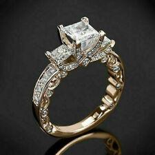 Stone Engagement Ring 14K Rose Gold Finish New listing 3.00 Ct Princess Cut Moissanite Three