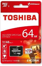 64GB, 64 GB Micro SDXC Speicherkarte CLASS 10 + SD Adapter Toshiba max. 48MB/s