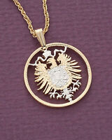 "Germany Phoenix Pendant Necklace, German Coin Hand Cut, 7/8"" diameter, ( # 115 )"