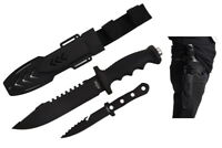 "12"" Tactical Hunting Knife Metal Blade w/Throwing Knife Outdoor Dagger Weapon"