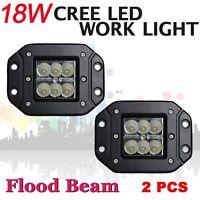 2x Cree 18W Flood Beam LED Work Light off road Driving Lamp Truck Flush Mount