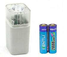 2pc 1.5v 2800mWh rechargeable Lithium AA battery + smart Charger with flashlight