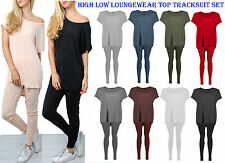 Womens Baggy Batwing Loose T shirt Tracksuit Ladies Hi low Loungewear Set Top