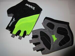 Trideer Cycling Biking Bike MTB Half Finger Gloves Black Green Medium Gel Palm