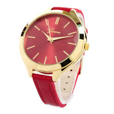 Red Gold Geneva Slim Design Narrow Band Large Face Women's Watch