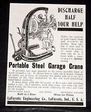"1913 OLD MAGAZINE PRINT AD, LAFAYETTE ""ONE MAN"" PORTABLE STEEL GARAGE CRANES!"