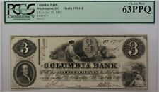 1852 Columbia Bank $3 Obsolete Currency Haxby 195-G4 Washington DC PCGS 63PPQ