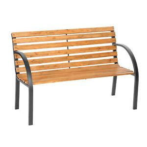 Wooden Garden Bench Seat Steel Wood Balcony Outdoor Weatherproof Furniture New