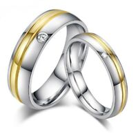 Coppia fedine fedi fidanzamento anello acciaio argento dorate uomo donna