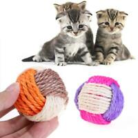 Cat Dog Toy Sisal Hemp Knitted Ball Tricolor Biting Interactive Pet Product