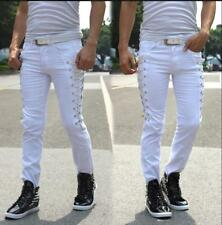 White Size 32 Men's Skinny Slim Fit Lace Up Pants Stylish Solid Pencil Trousers