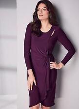 Mulberry Purple Slinky Wrap Dress with Cut out Detail Size 14 NEW