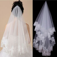 1T White Ivory 1.5M Cathedral Applique Edge Flower Lace Bridal Wedding Veil FA1X