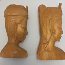"Bali Wood Carved Sculptures Natural Blonde Hardwood 10"" Pair Man & Woman Busts"