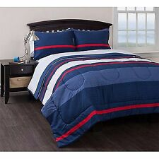 Queen Size Bedding Set Reversible Boys Comforter Sheets Blue Striped Bed In Bag