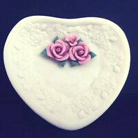 "Estate Manor Porcelain Bisque Heart Shaped Trinket Dish 5"" Pink Roses"