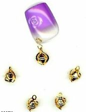 4 Elegant GOLDEN Tiny FILIIGREE  Nail Art Dangles 063fi