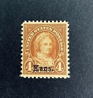 US Stamps, Scott #662 Kans. overprint 4c Martha Washington 1929 VF/XF M/NH