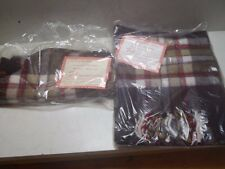 """Vintage Pair of Faribo Glengary Plaid Scarves Acrylic 12""""x60"""" One New"""
