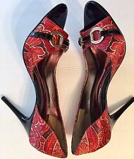 CARLOS LADIES OPEN TOE PUMPS SIZE 9 M ORANGE/RED PAISLEY FABRIC UPR LEATHER SOLE