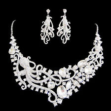 Rare Big Octopus Earring Necklace Set Austrian Crystal Clear Animal Silver Tone