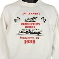 Demolition Derby Sweatshirt Vintage 80s 1989 Bridgeport CT Made In USA Large