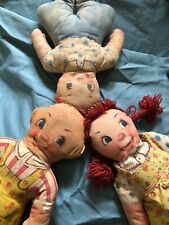 """1930's Cloth Dolls Set of Three Cute Red Haired Children 13.5""""-13.75"""" Tall"""