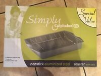 SIMPLY CALPHALON roaster Pan With Rack Nonstick Aluminized Steel NEW IN BOX