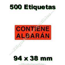 """1 Rollo de 500 Etiquetas Adhesivas """"Contiene Albarán"""" de 94 x 38 mm Alta Calidad"""