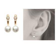 Boucles D'oreilles Perles Zirconium Plaqué Or 18 Carats 750/1000 Bijoux