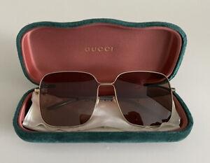 Womens Brown Square Gucci Sunglasses