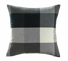 Chezmoi Collection Plaid Decorative Black Gray White Pillow/Cushion Cover 18x18