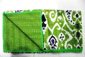 Indian Handmade Cotton Blanket Bedspread Ikat Print Baby Kantha Quilt Throw-4