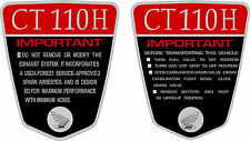 CT110 H K1 CT70 H 110cc Custom frame decals, graphics, frame warning    RED