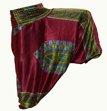 COTTON ALI BABA DARK RED AFRICAN PRINT YOGA WOMAN PANT TROUSER GYPSY BOHO HIPPIE