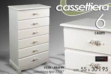 CASSETTIERA 6 CASSETTI H95*55*30 LEGNO BIANCA SHABBY CHIC PROVENZALE TOD 594199