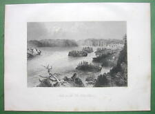 CANADA Falls on St. John's River - 1841 Engraving Print by BARTLETT